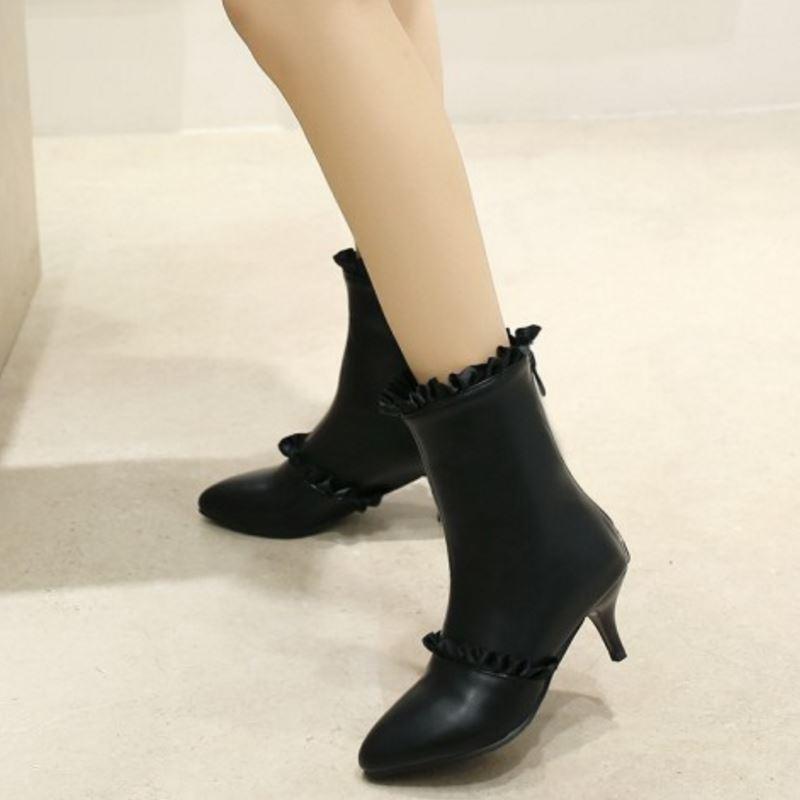 Point Chaussures Noir Chelsea Zip Casual Mode Peluche Q484 blanc mollet Taille En Bottes rose Femmes Dentelle Talon Court Avec Toe Sjjh Fantaisie Grande Mince Mi BUIqI