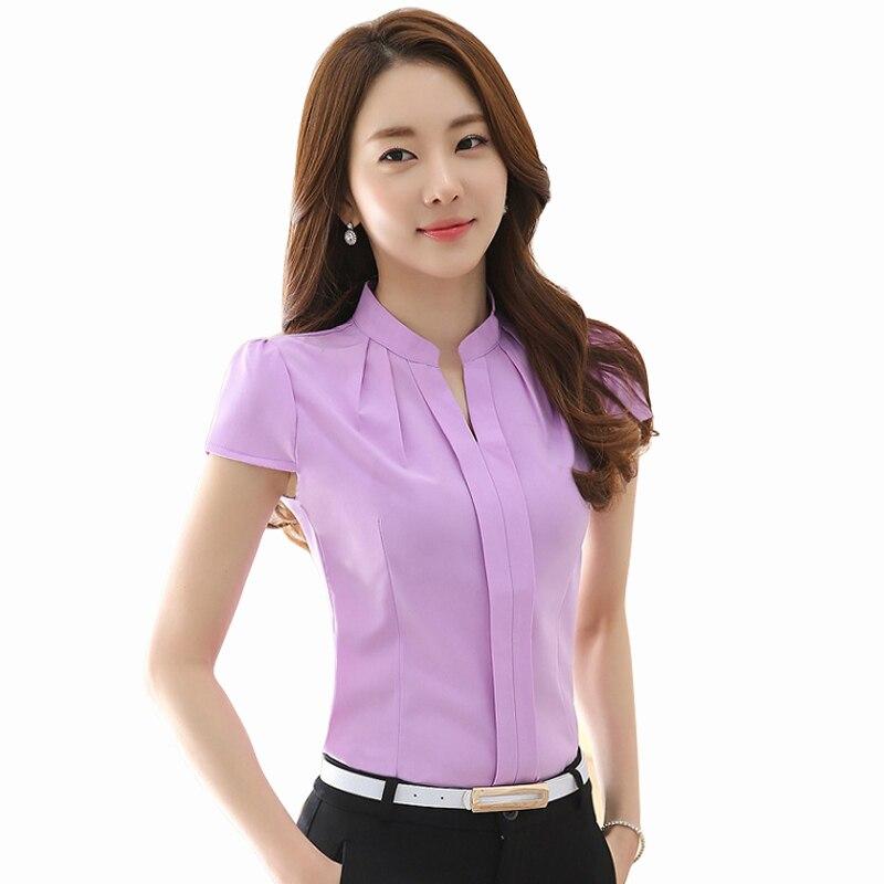 Annie store 2017 New Summer Women blouses Elegant Slim Chiffon blouses Fashion short sleeved Casual women shirts plus size women tops