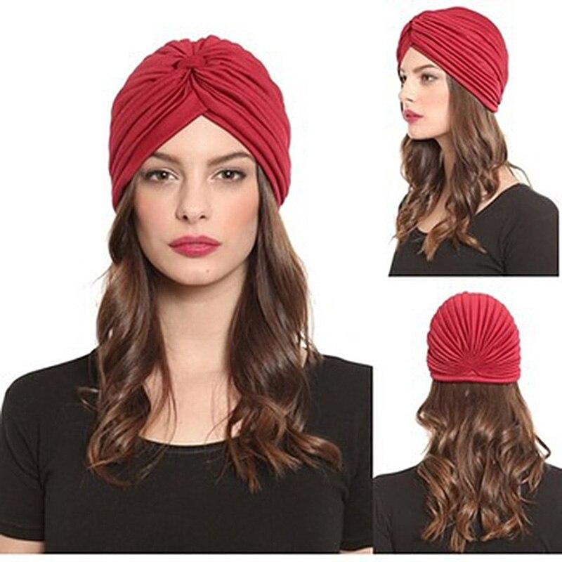 2017 New Fashion Women Turban Hat Bohemia 21 Solid Color Fold Beanies Female Simple Autumn Bonnet Indian Turban Hats For Women skullies 2017 fashion new arrival indian yoga turban hat ear cap sleeve head cap hat men and women multicolor fold 1866688