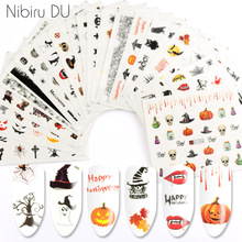24 Pcs Halloween Bat Witch Sticker Nail Art Design Water Transfer Sliders Decals For Nail Sticker 3D Tips Decorations