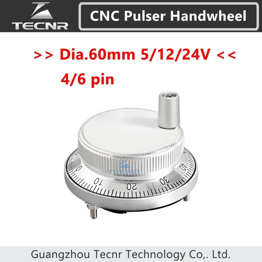 60mm Cnc Pulser Electronic Handwheel 5V 12V 24V 4 6 Pin Pulse 25 100 Manual Pulse Generator Rotary Encoder For Cnc Machine TECNR