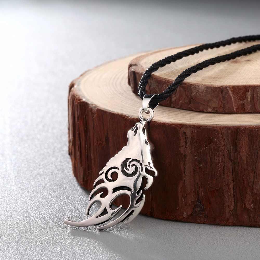 CHENGXUN Collier pendentif homme Valknut Vikings amulette Collier tête de loup nordique Collier Animal Original pour les meilleurs amis cadeau
