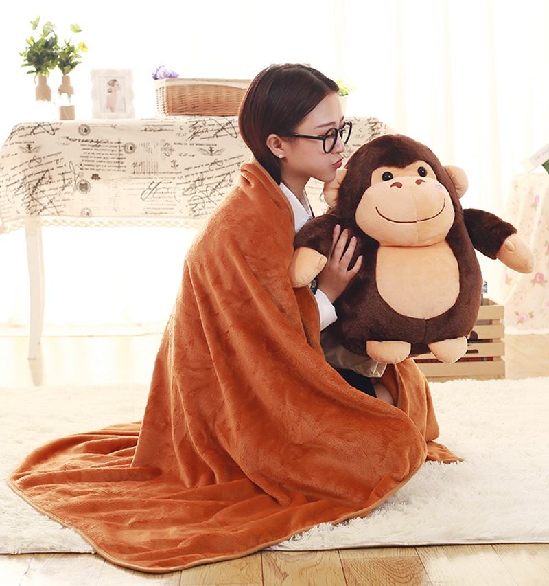 1Pc 50Cm 6 Styles Plush Monkey Sheep Pillow Blanket (100x160Cm) Cute Cartoon Stuffed Toy Room Bed Decor Soft Sofa Blanket Gift