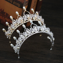 Tiaras Crowns Luxury Pearl Princess Pageant Engagement Wedding Hair Accessories For Bridal Jewelry Shine Rhinestone Headpiece