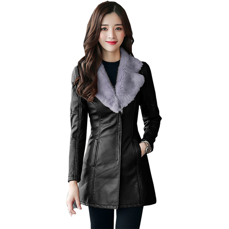 Fur Collar Long Faux   Leather   Women Jacket Coat Female Winter   Suede   Fur Jacket Women Biker Motorcycle Jacket 2017 Fashion RE0160