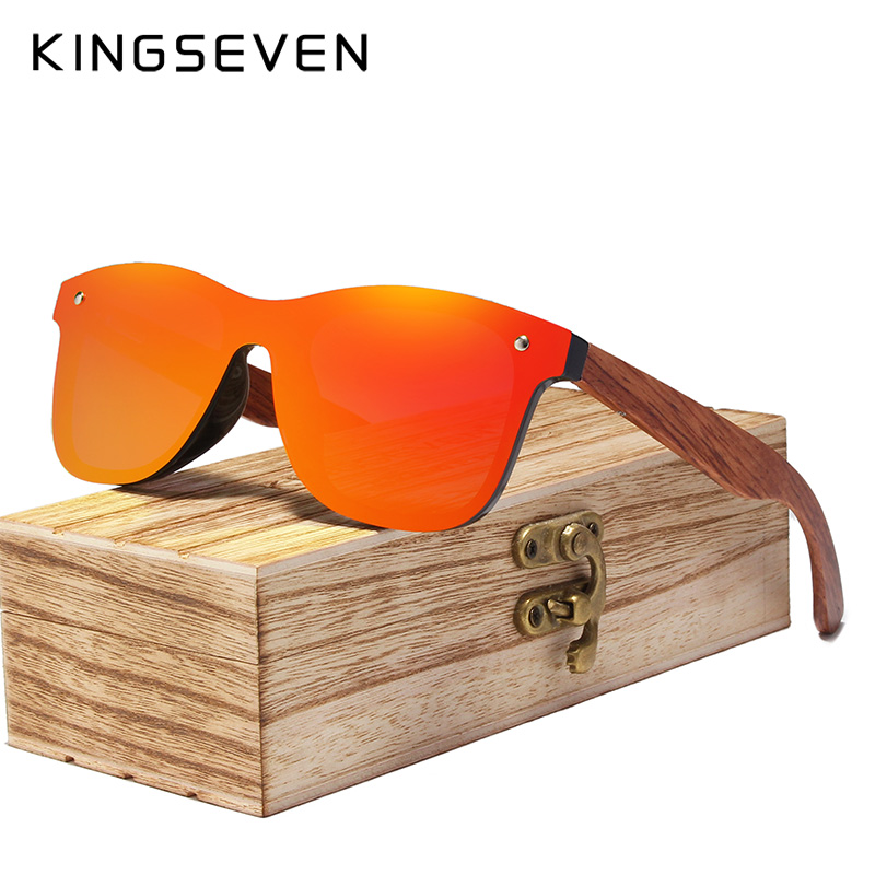 KINGSEVEN Rimless Polarized Wood Sunglasses Men Square Frame UV400 Sun glasses Women Sun glasses Male oculos de sol Feminino 1