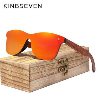 KINGSEVEN Rimless Polarized Wood Sunglasses Men Square Frame UV400 Sun glasses Women Sun glasses Male oculos de sol Feminino Men's Glasses