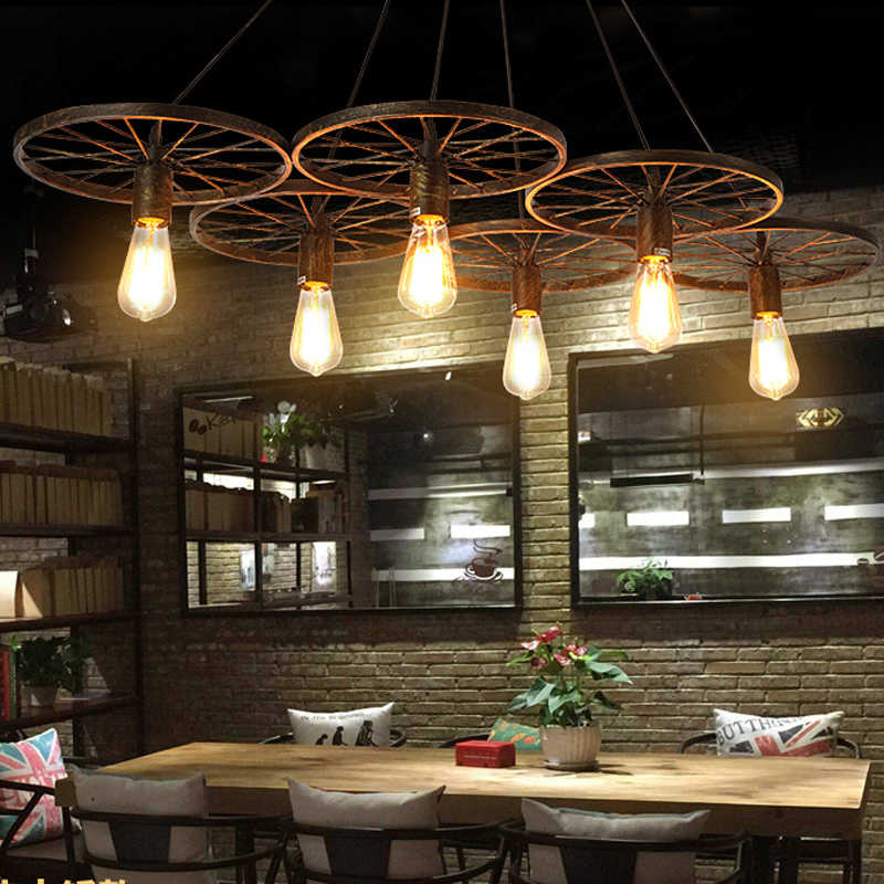 E27 LOFT Metal Wheel Pendant Light Vintage Industrial Lighting American Aisle Lights Lamp 110V-220V
