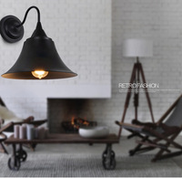 Nordic Industrial Vintage Style Iron Trumpet Type Wall Lamp Bedside Light Asile Light Coffee Shop Light