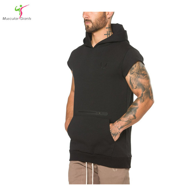 2017 Men cotton hoodie sweatshirts fitness clothing bodybuilding tank top men Sleeveless Tees Shirt Casual golds vest