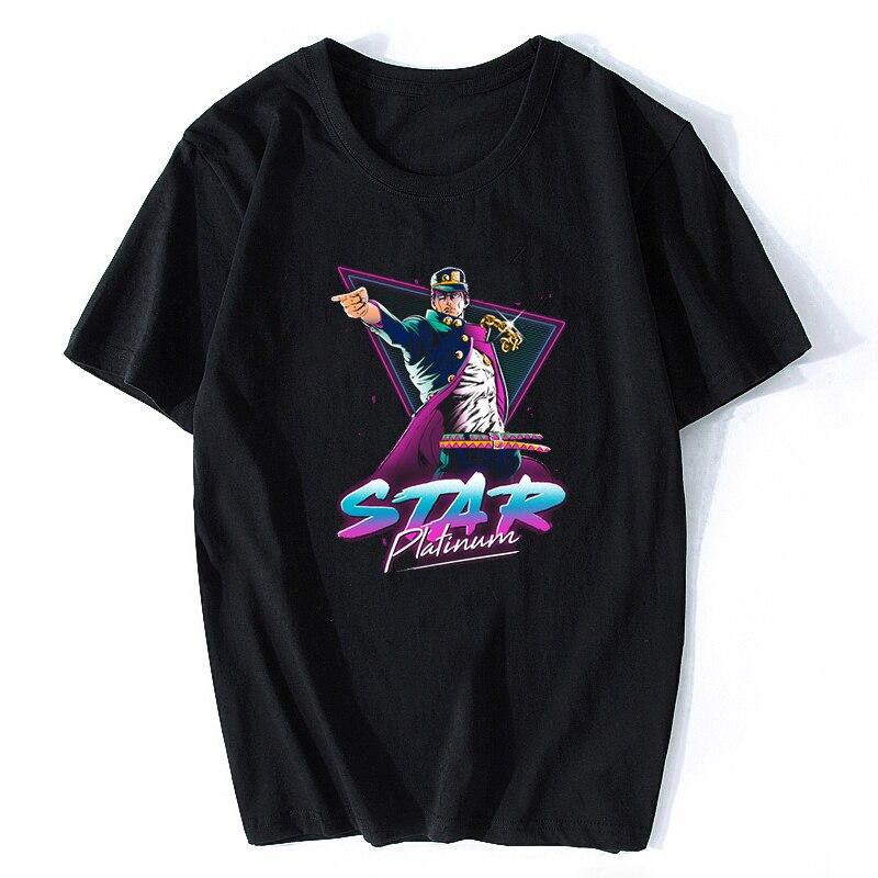 Jojos Bizarre Adventure Star Platinum Cotton Men Cool Japan Anime T-shirt Harajuku Streetwear Camisetas Hombre Aesthetic Clothes