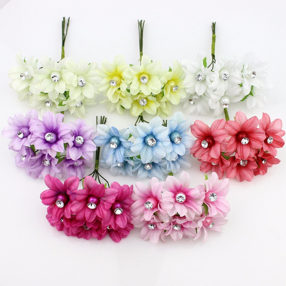 3cm 6pieces artificial lily flower bouquet silk plum for Artificial flower for wedding decoration