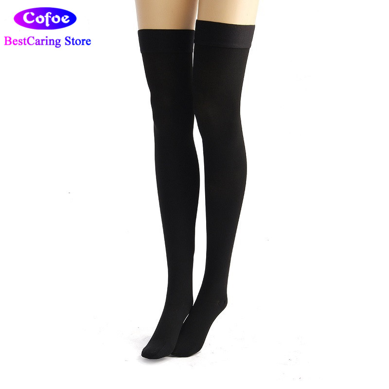 Cofoe Medical COMPRESSION STOCKINGS TO THIGH with SILICONE GRIP FOR VARICOSE VEINS CLASS 2 23 32mmHg