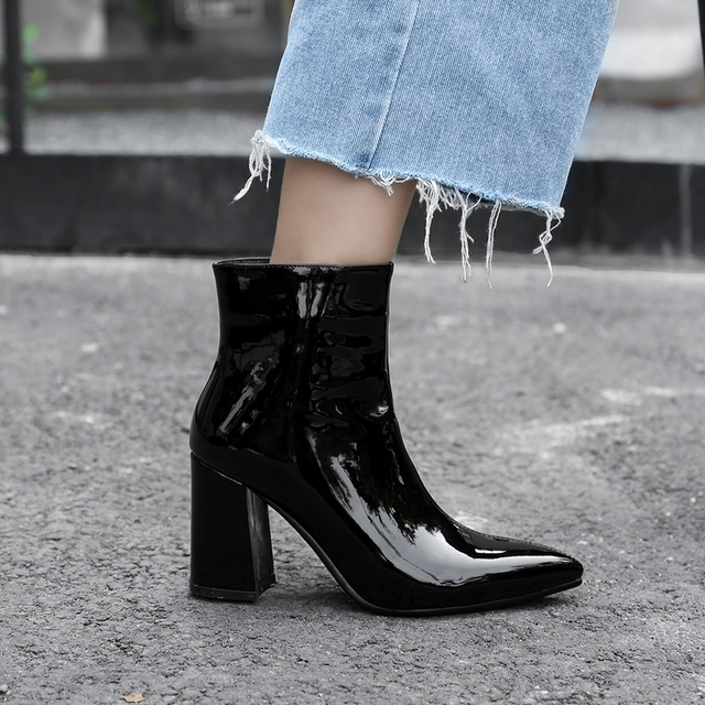 2019 New Sliver Gold Women Ankle Boots Pointed Toe Chunky High Heel Boots Mirror Metallic Women Pumps Female Sexy Stiletto Boots