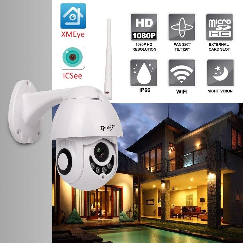 Zjuxin Cámara cámara IP WiFi 2MP 1080 p inalámbrico domo PTZ CCTV IR Onvif cámara de seguridad al aire libre de vigilancia ipCam Camara exterior