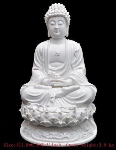 30 cm */ Chinese dehua white porcelain shakyamuni Buddha statue