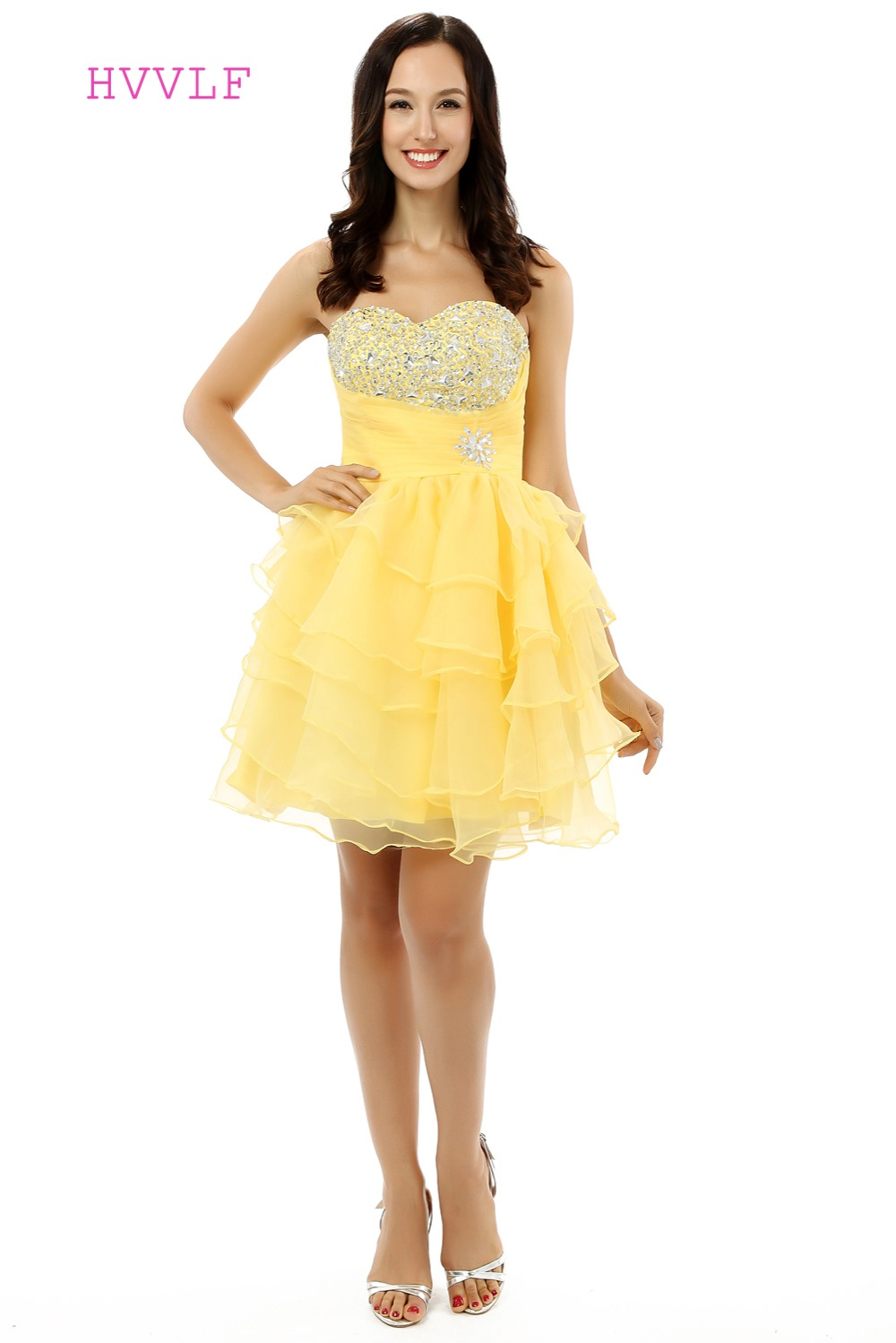 HVVLF Yellow 2019 Homecoming Dresses A-line Sweetheart Short Mini Organza Beaded Crystals Tiered Cocktail Dresses