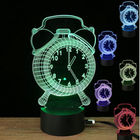 Alarm Clock Illusion Lamp Optical Led Night Light Desk Lamp Baby Bedroom Table Lamp Decro Night Light
