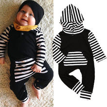 Newborn Infant Baby Boys Girls Long Sleeve Striped Cotton Hooded Romper Jumpsuit Clothes Outfit CA