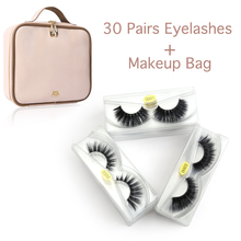 Wholesale 30 pairs/lot Mink False Eyelashes Hand Made Dramatic Crisscross 3D Lashes Eye Makeup Bag faux cils