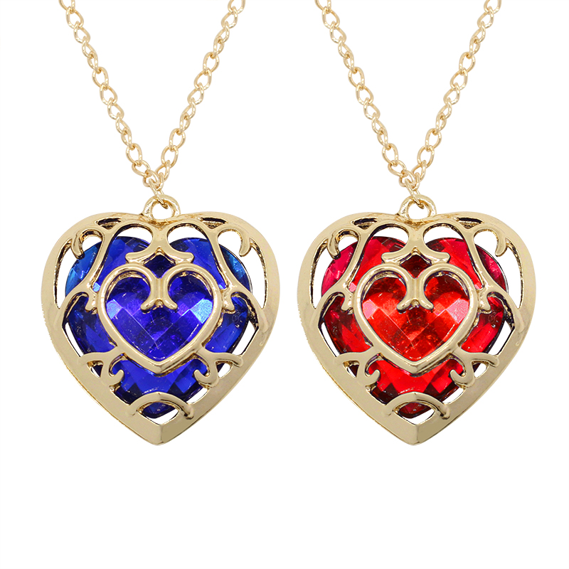 2017 Fashion Anime Movie Jewelry Zelda Charm Heart Crystal Rhinestone Pendant Choker Necklaces Womens Statement Necklaces Gift