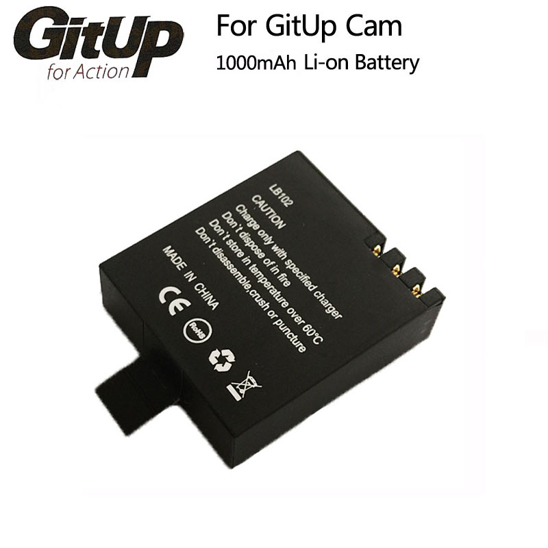 Original GitUp Battery 1000mAh Backup Rechargable Li-on Battery For GitUP Git2 / Git2P WiFi Sports Action Camera gitup gps module slave camera combination for g3 duo camera