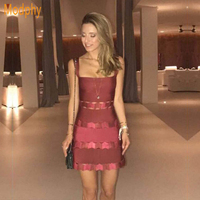 Women sexy winter dress patchwork ruffles strapless spaghetti strap celebrity bodycon mini bandage dress wholesale HL366