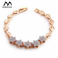 MDEAN Frauen Armband Weißgold Farbe Kette Perlen Armbänder & Armreifen Overlay Kette Dichten Modeschmuck Zubehör MSB017