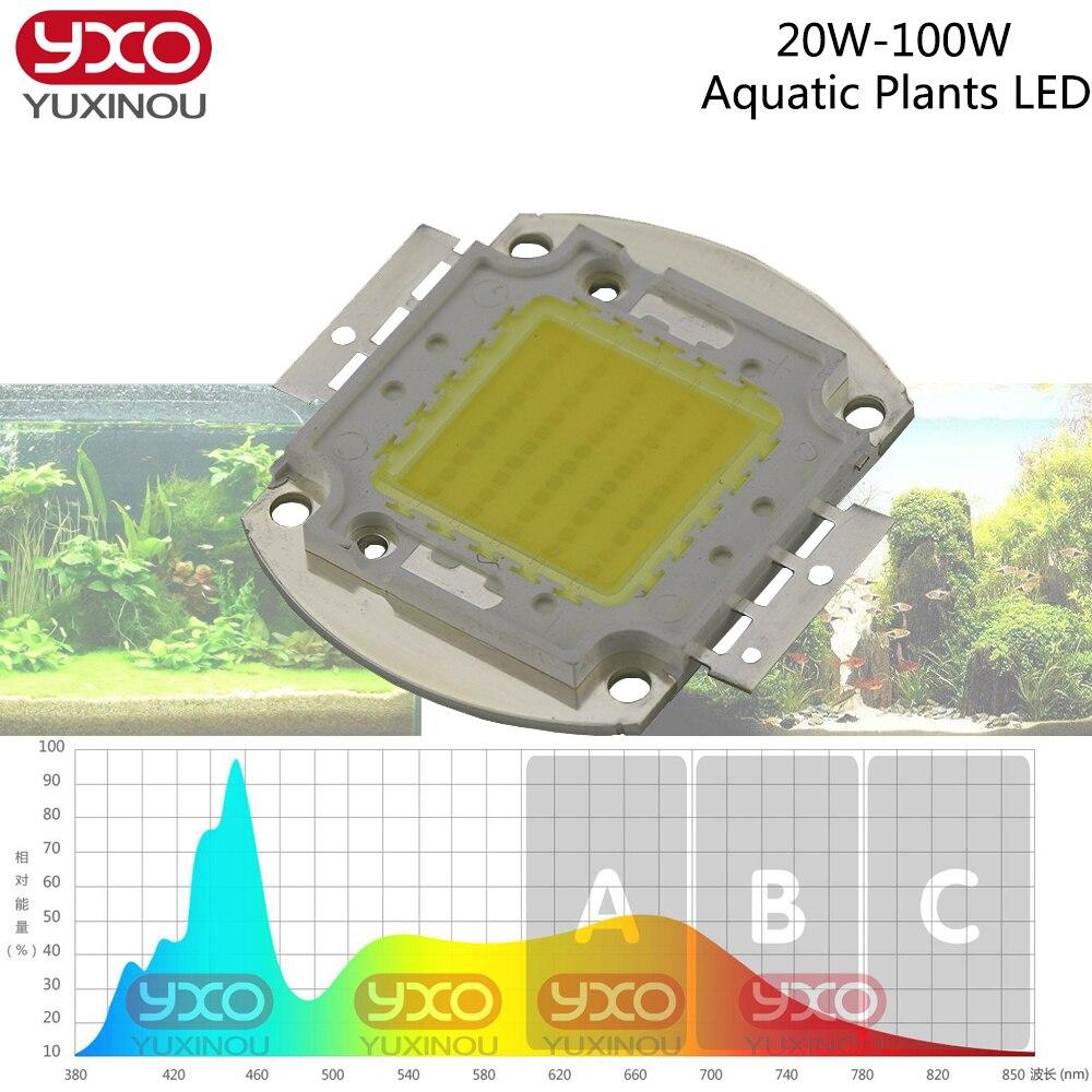 1pcs 20W 30W 50W 100W LED Marine Reef Aquarium Lighting Full Spectrum LED Chip Aquarium Lamp 380Nm-840Nm For Freshwater Lamp
