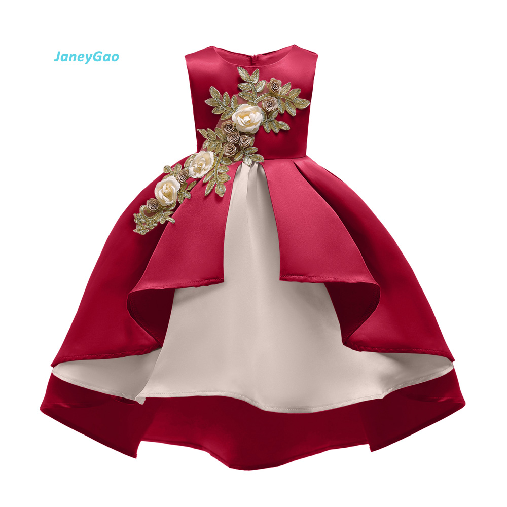 JaneyGao   Flower     Girl     Dress   For Wedding Party New Style Christmas New Year   Girls     Dress   Children's Clothing   Dress   Princess