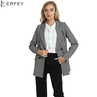 LERFEY Autumn Casual Blazer Women Plaid Ladies Blazers Outwear Winter Double Breasted Coats Office Jackets Blaser