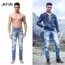 2016 New Designer Regular Fit Men Jeans Fully Ripped Handmade Denim Jogger Pants Distressed Light Blue Jeans for Men JKFUN