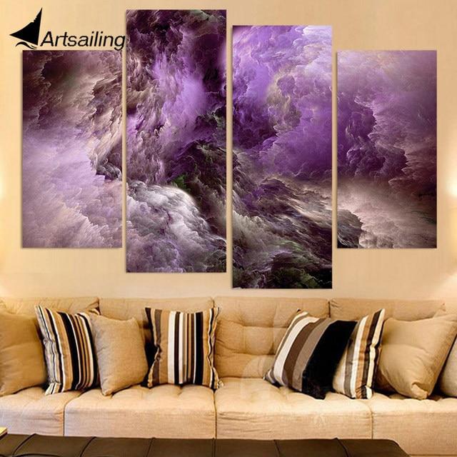 Leinwand Malerei 4 Stück Leinwand Kunst Abstrakte Farben Lila Wolken HD  Gedruckt Wand Kunst Dekor Poster
