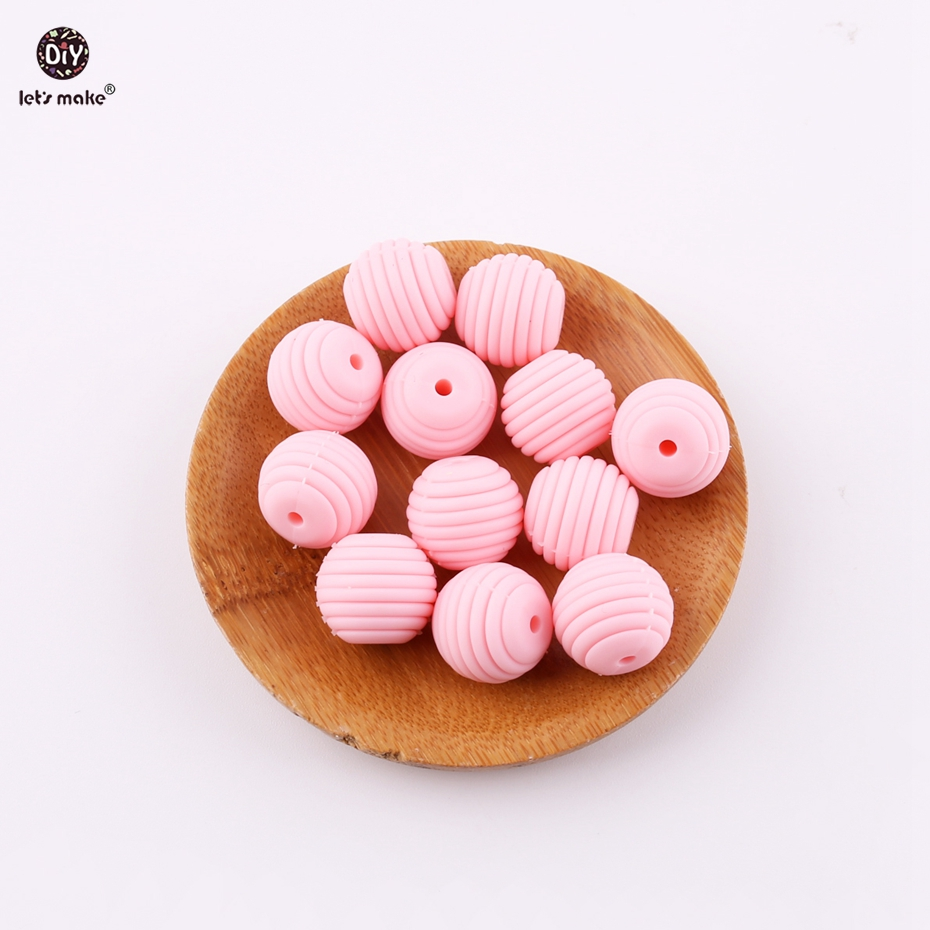 Let's Make Candy Pink Silicone Teether Round Spiral Beads 10pcs 15mm Food Grade Making Dummy Clip Chains Baby Teethers