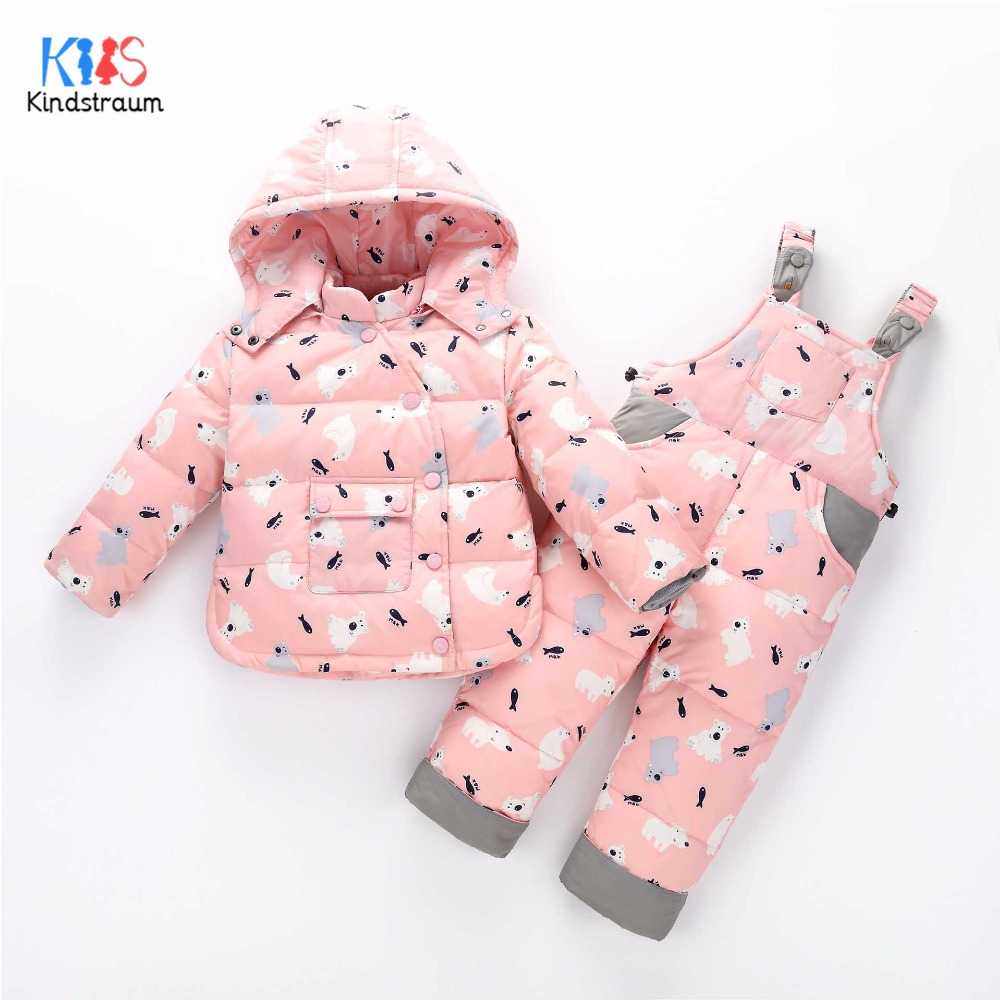 Kindstraum 2017 Children Print Down Clothing Sets Kids Hooded Coat + Bib Winter Cartoon Suits for Baby,RC1621 2017 newly fashion tiara hairwear headpiece plastic flower hairdress wedding hair accessories head chain bridal hairwear ma064