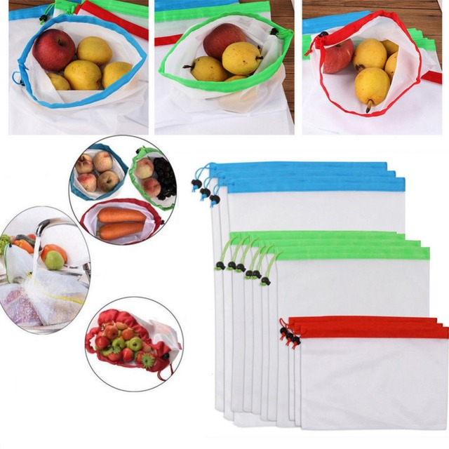 1pcs Eco Friendly Reusable Mesh Produce Bags Superior Double Sched Strength Vegetable Bag Kitchen Tool