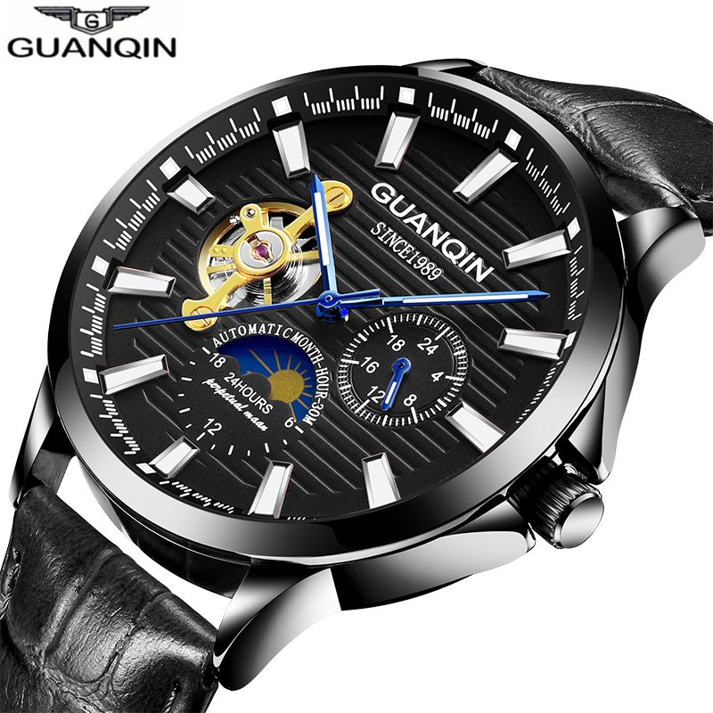 GUANQIN 2018 Mechanical Watch Men Waterproof Automatic Gold Skeleton Leather Men Watch Moon Phase Clock Luxury Relogio Masculino