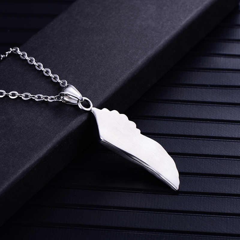 Męska Punk srebrny Tone wisiorek z piórkiem naszyjnik dla mężczyzn stal nierdzewna vintage anioł skrzydło naszyjniki biżuteria męska