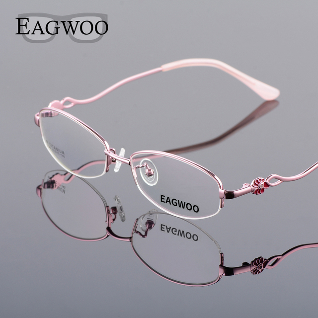 6757ef8abd Pure Titanium Eyeglasses Women Half Rim Optical Frame Prescription Reading  Spectacle Female Flower Myopia Eye Glasses 865832