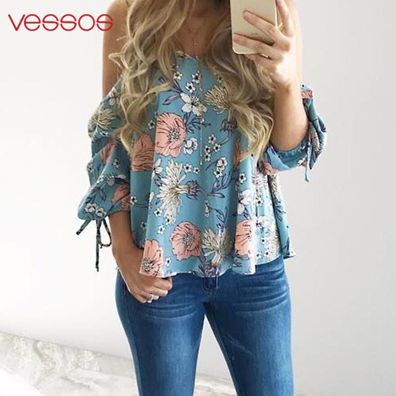 Women Floral Printed Blouse Spaghetti Strap Cold Shoulder Tops Light Blue Sexy Beach Party Kawaii Female Shirts Bts Party Blusas