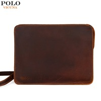 VICUNA POLO Vintage Genuine Leather Men Clutch Bag Large Size Men Envelope Clutch With 2 Strap