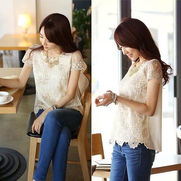 Women Lady Short Sleeve Chiffon   Blouse     Shirt   Pearls Flower Neck Lace Top