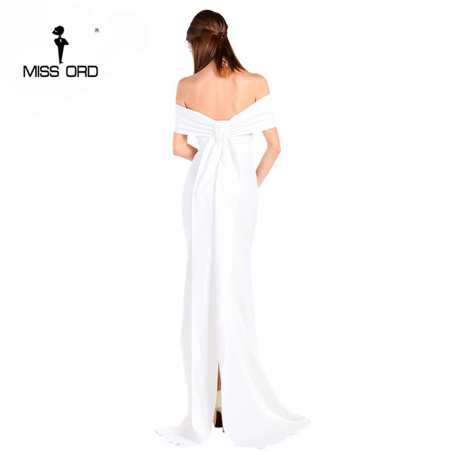 Free Shipping  Missord 2019 Sexy Floor-Lenght Bow backless elegant party dress strapless bodycon  FT3901 2