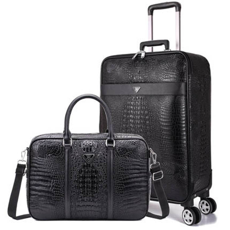 BeaSumore Retro Crocodile Rolling Luggage Sets Spinner Wheel Suitcases PU Leather Travel bag Men Business Carry