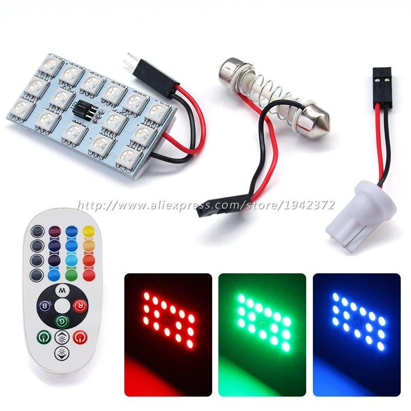 2PCS RGB 15SMD 5050 auto LED dálkový ovladač bílá modrá zelená červená auto vnitřní dveře dveří kufr čtecí lampa příslušenství k lampám