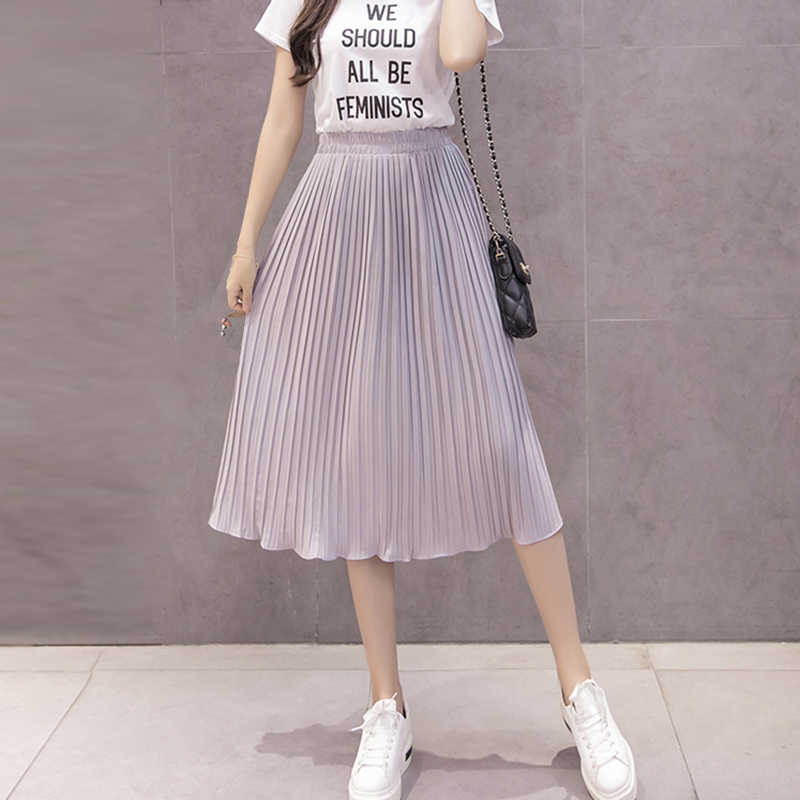 5175d916203 ... 2018 New Women Skirts New Fashion Women s High Waist Pleated Solid  Color Knee Length Elastic Skirt ...