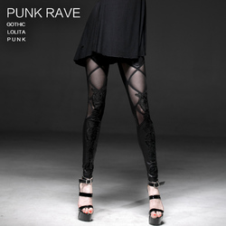 Punk rave Women Ladys Stylish Lace Leather Plaids Pencil Skinny Sexy Leggings K186 L-3XL