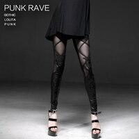 Punk rave Women Lady's Stylish Lace Leather Plaids Pencil Skinny Sexy Leggings K186 L 3XL