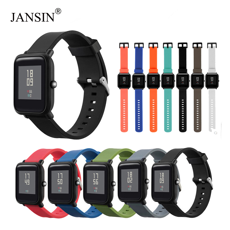 JANSIN Silicone Strap For Xiaomi Huami Amazfit Bip BIT PACE Lite Youth Smart Watch Multiple Color Bracelet Watch Band