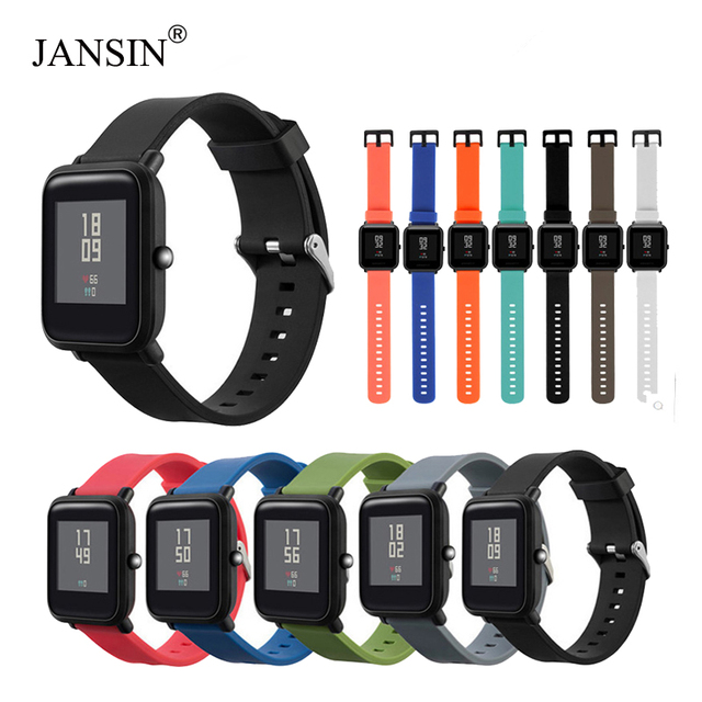 Jansin pulseira de silicone para xiaomi huami amazfit bip bit ritmo lite juventude relógio inteligente múltipla cor pulseira relógio banda